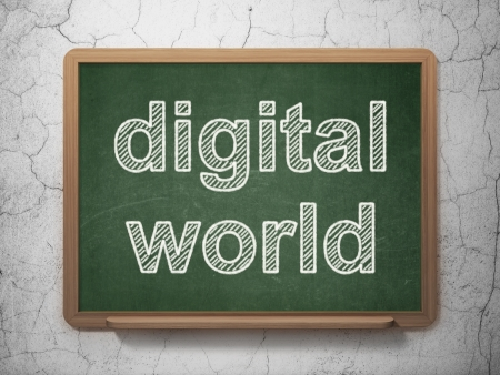 Information concept: text Digital World on Green chalkboard on grunge wall background, 3d render photo