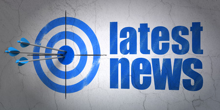 Success news concept: arrows hitting the center of target, Blue Latest News on wall background, 3d render photo