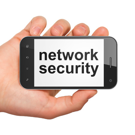 Protection concept: hand holding smartphone with word Network Security on display. Mobile smart phone on White background, 3d render photo