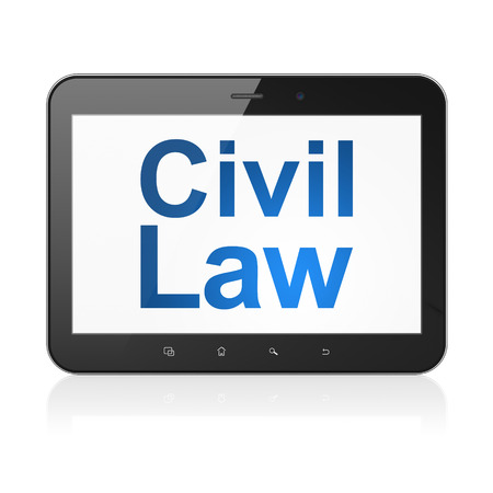 Law concept: black tablet pc computer with text Civil Law on display. Modern portable touch pad on White background, 3d render photo