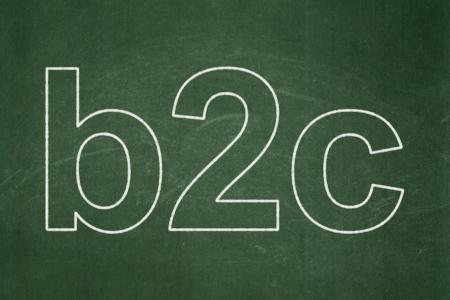 b2c: Finance concept: text B2c on Green chalkboard , 3d render