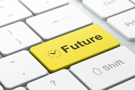 Timeline concept: computer keyboard with Clock icon and word Future, selected focus on enter button, 3d render photo