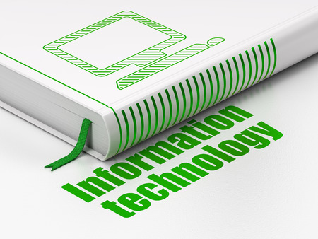 Information concept: closed book with Green Computer Pc icon and text Information Technology on floor, white background, 3d render photo