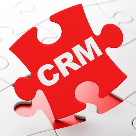 事業コンセプト: 赤パズルのピースを 3 d のレンダリングの CRM