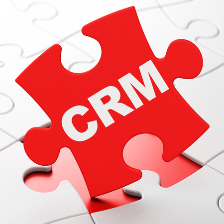 Business concept: CRM on Red puzzle pieces , 3d render