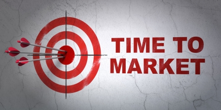 Success time concept: arrows hitting the center of target, Red Time to Market on wall background, 3d render photo