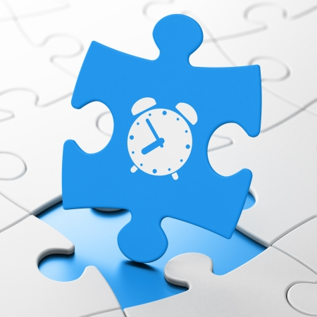 lines game: Time concept: Alarm Clock on Blue puzzle pieces background, 3d render Stock Photo