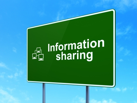 Data concept: Information Sharing and Lan Computer Network icon on green road (highway) sign, clear blue sky background, 3d render photo