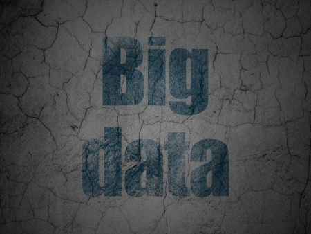 Information concept: Blue Big Data on grunge textured concrete wall background, 3d render photo