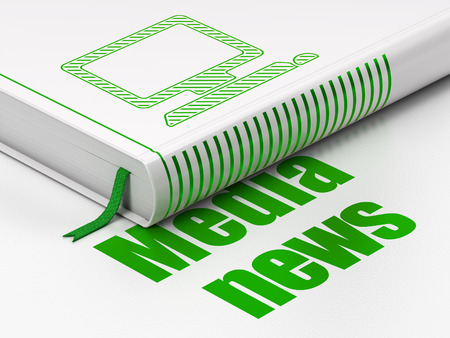 News concept: closed book with Green Computer Pc icon and text Media News on floor, white background, 3d render photo