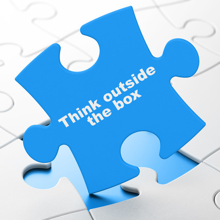 brainteaser: Education concept: Think outside The box on Blue puzzle pieces background, 3d render