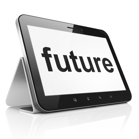 Timeline concept: black tablet pc computer with text Future on display. Modern portable touch pad on White background, 3d render photo