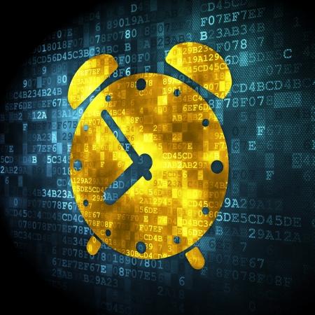 cronologia: Concepto del tiempo: pixelada icono de reloj de alarma sobre fondo digital, 3d