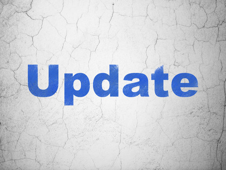Web development concept: Blue Update on textured concrete wall background, 3d render photo