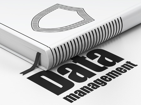 contoured: Concepto de datos: Libro cerrado con Shield contorneada Negro icono y texto de gesti�n de datos en el piso, fondo blanco, 3d Foto de archivo