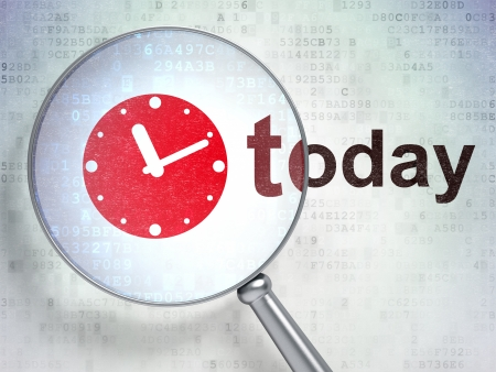 Time concept: magnifying optical glass with Clock icon and Today word on digital , 3d render photo