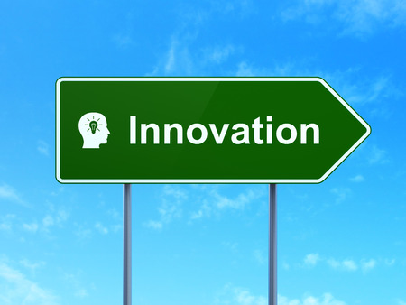 Business concept: Innovation and Head With Light Bulb icon on green road (highway) sign, clear blue sky background, 3d render photo