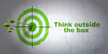 Success Education concept: arrows hitting the center of target, Green Think outside The box on wall , 3d render photo