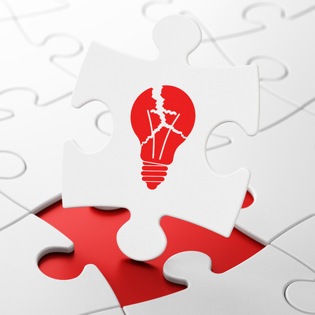 broken strategy: Business concept: Light Bulb on White puzzle pieces background, 3d render Stock Photo