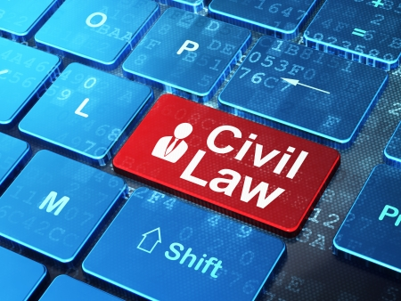 Law concept: computer keyboard with Business Man icon and word Civil Law on enter button , 3d render photo