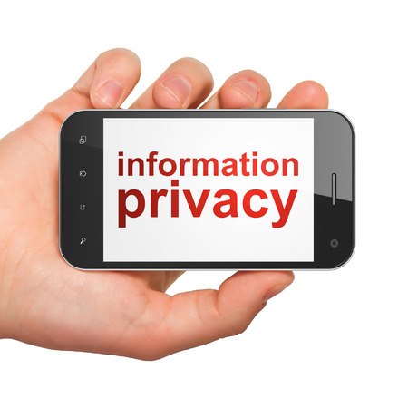 Safety concept: hand holding smartphone with word Information Privacy on display. Mobile smart phone on White , 3d render photo