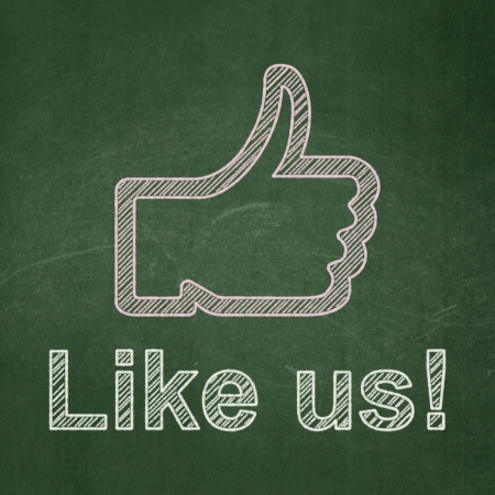 Social media concept: Thumb Up icon and text Like us! on Green chalkboard background, 3d render photo