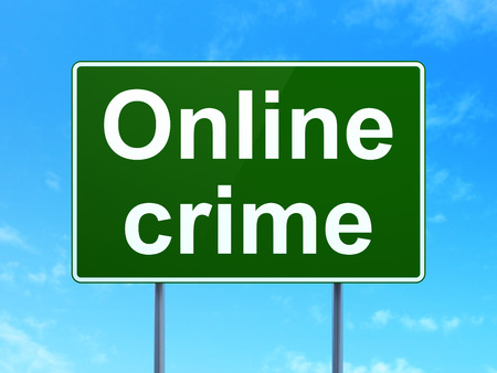 online privacy: Privacy concept: Online Crime on green road (highway) sign, clear blue sky , 3d render