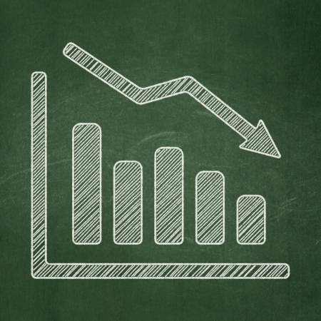 Advertising concept: Decline Graph icon on Green chalkboard , 3d render photo