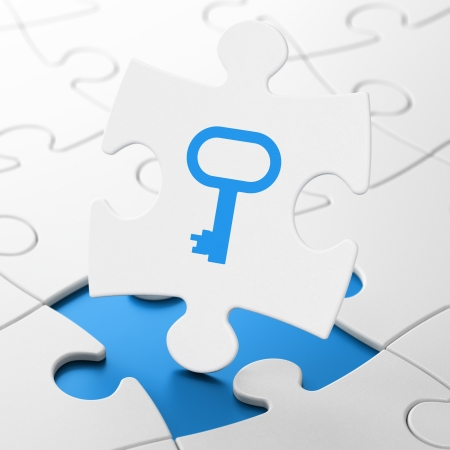 Safety concept: Key on White puzzle pieces , 3d render photo