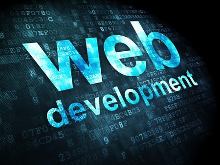 website words: SEO web development concept: pixelated words Web Development on digital , 3d render