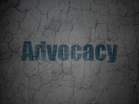 advocacy: Law concept: Blue Advocacy on grunge textured concrete wall , 3d render