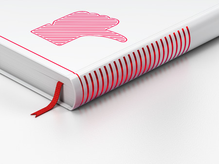 Social network concept: closed book with Red Thumb Down icon on floor, white , 3d render photo