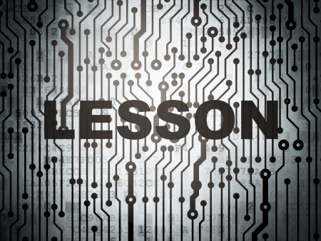 word lesson: Education concept: circuit board with  word Lesson, 3d render