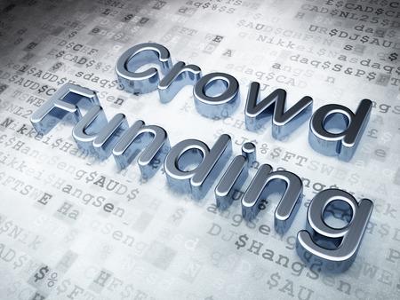 buisnes: Finance concept: Silver Crowd Funding on digital , 3d render