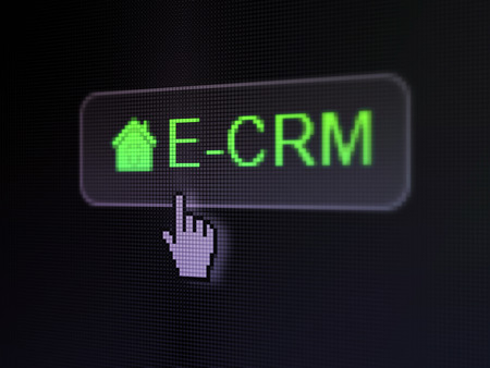 ecrm: Finance concept: pixelated words E-CRM and Home icon on button with Hand cursor on digital computer screen , selected focus 3d render