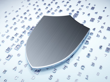 protective shield: Protection concept: Silver Shield on digital , 3d render Stock Photo