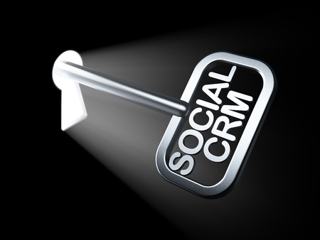 Business concept: Social CRM on key in keyhole, 3d render photo
