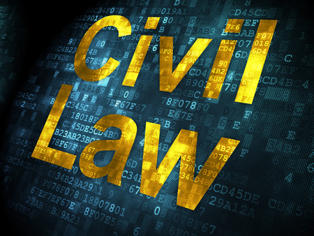 Law concept: pixelated words Civil Law on digital , 3d render photo