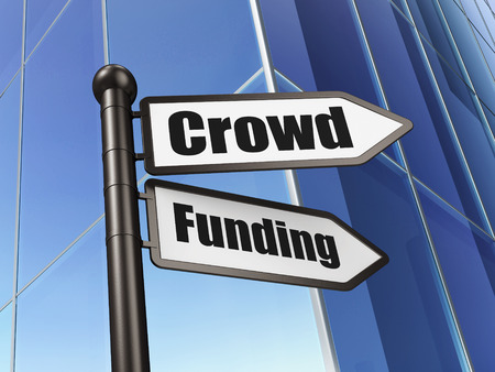 Finance concept: sign Crowd Funding on Building background, 3d render photo