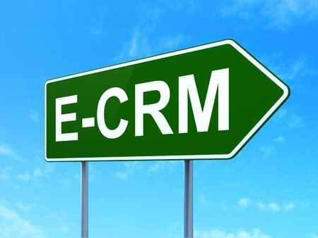 ecrm: Business concept: E-CRM on green road (highway) sign, clear blue sky , 3d render Stock Photo