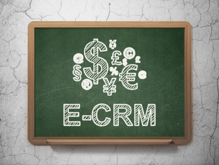 ecrm: Business concept: Finance Symbol icon and text E-CRM on Green chalkboard on grunge wall background, 3d render Stock Photo
