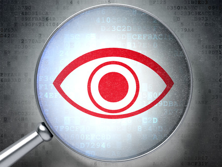 Security concept: magnifying optical glass with Eye icon on digital , 3d render photo