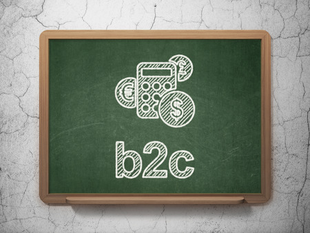 b2c: Business concept: Calculator icon and text B2c on Green chalkboard on grunge wall , 3d render