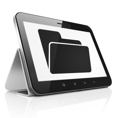 buisnes: Business concept: black tablet pc computer with Folder icon on display. Modern portable touch pad on White background, 3d render