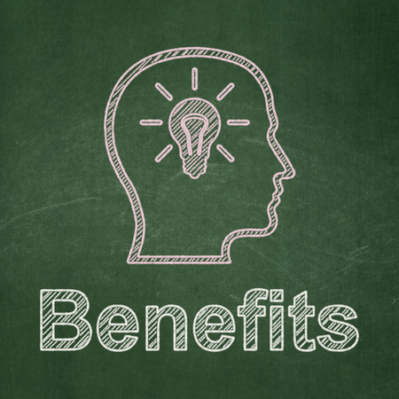 buisnes: Finance concept: Head With Lightbulb icon and text Benefits on Green chalkboard , 3d render Stock Photo