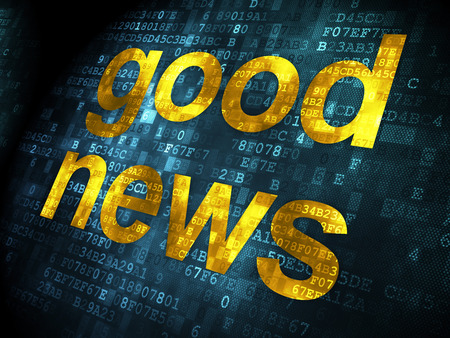 News concept: pixelated words Good News on digital , 3d render photo