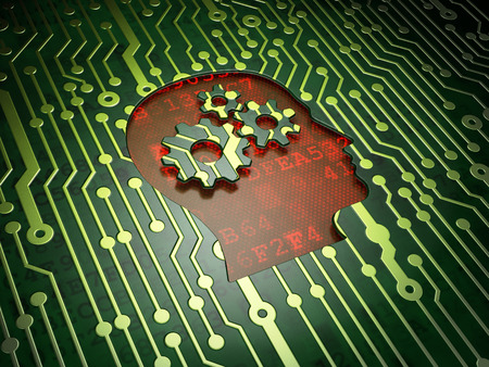 Marketing concept: circuit board with Head With Gears icon, 3d render photo