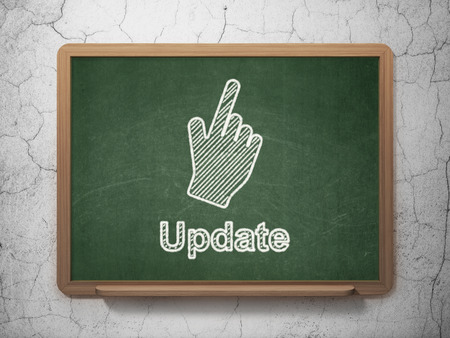Web development concept: Mouse Cursor icon and text Update on Green chalkboard on grunge wall background, 3d render photo