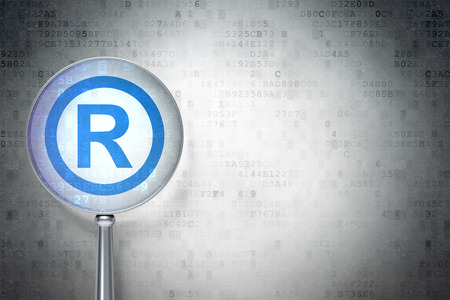 r regulation: Law concept: magnifying optical glass with Registered icon on digital , empty copyspace for card, text, advertising, 3d render Stock Photo