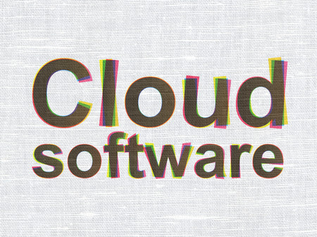 Cloud technology concept: CMYK Cloud Software on linen fabric texture , 3d render photo